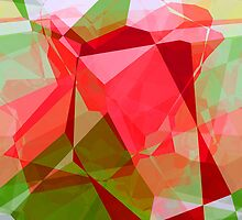 Red Rose Edges Abstract Polygons 2 by Christopher Johnson
