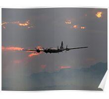 B-29 Bomber Plane flying at Sunset Poster