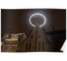 Night Lights of Utrecht. Halo at Willibrorduskerk. Netherlands Poster