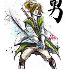 Link from Zelda Sumie style calligraphy COURAGE by Mycks
