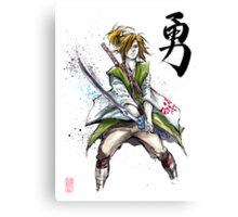 Link from Zelda Sumie style calligraphy COURAGE Canvas Print
