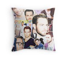 chris pine collage Throw Pillow