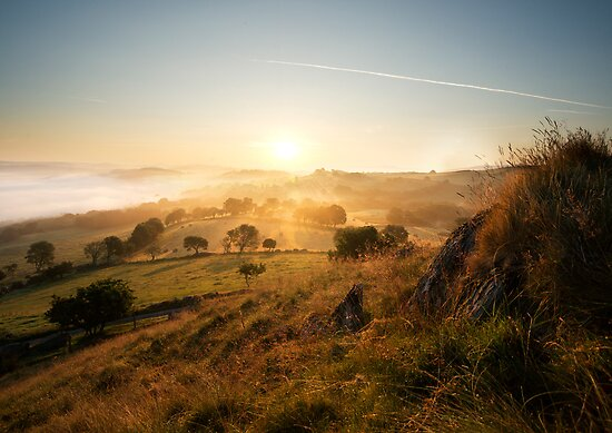 good day sunshine - a sunrise landscape image set in the North Wales valley of Dee near Llangollen by blueskyjunction