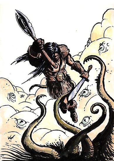Conan fighting a shoggoth! by Vaggelis Ntousakis