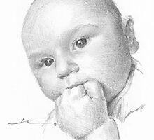 Baby teething drawing by Mike Theuer