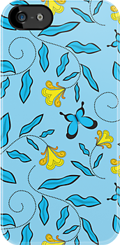 Blue floral and butterfly pattern by CClaesonDesign