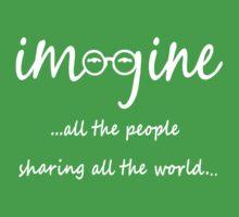 Imagine - John Lennon T-Shirt - Imagine All The People Sharing All The World... WHITE Kids Clothes