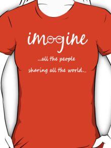Imagine - John Lennon T-Shirt - Imagine All The People Sharing All The World... WHITE T-Shirt