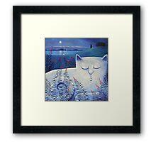 Blind white cat on a moonlit night. Framed Print