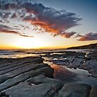 Rocks, Sea and Sunset by Heidi Stewart