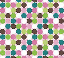 Pink green polka dots by silvianna