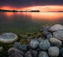Lightning at Sunset - Leech Lake, MN by Michael Treloar
