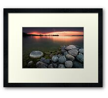 Lightning at Sunset - Leech Lake, MN Framed Print