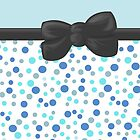 Ribbon, Bow, Dots, Spots - Blue White Gray by sitnica