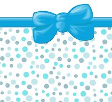 Ribbon, Bow, Dots, Spots - Blue White  by sitnica