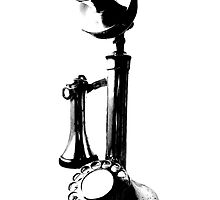 Antique Candlestick Telephone. Antique Digital Engraving Vintage Image. by digitaleclectic