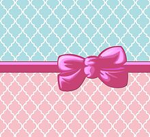 Ribbon, Bow, Moroccan Trellis - Blue White Pink by sitnica
