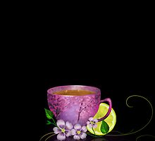 Cup of tea with lemon and flowers by Nika Lerman