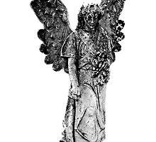 Graveyard Weeping Angel. Creepy Halloween Digital Engraving Image by digitaleclectic