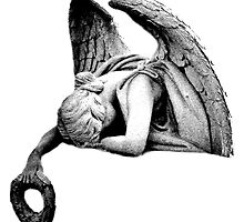 Graveyard Weeping Angel. Creepy Halloween Digital Engraving Image by digitaleclectic