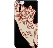 Flying Cat in Cream & Maroon  iPhone Case/Skin
