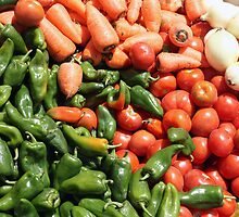 Peppers Tomatoes Carrots and Onions by rhamm