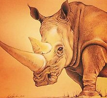 "Colored Pencil and Ink Rhino ""The Weight of It"" by LeahSandberg"