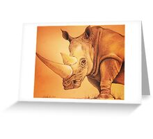 "Colored Pencil and Ink Rhino ""The Weight of It"" Greeting Card"