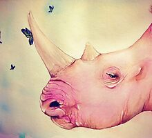 "Watercolor and Ink Rhino ""Beauty and the Beasts"" by LeahSandberg"