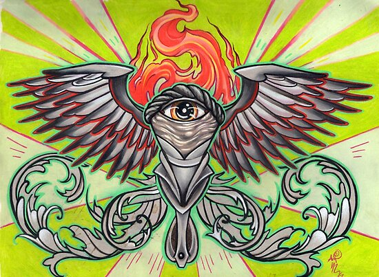 torch with eye and flames by resonanteye