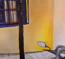 Holiday paintings 2013 #1 Bike and lamp post by bjorksboy