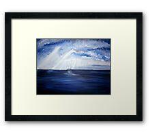 Ship at sea Framed Print