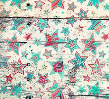 Grunge Stars on Shabby Chic White Painted Wood by micklyn