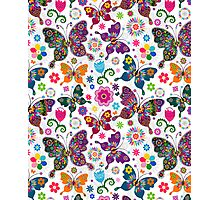 Colorful Retro Butterfly's And Flowers Pattern Photographic Print
