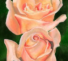 Twin Roses Watercolor by AngelaBishop