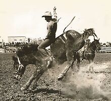 "Bob Estes On ""Strawberry"" Phoenix Rodeo 1943 by Robert Stanford"