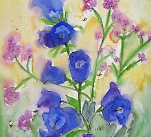 Bluebells and Bees Watercolor by AngelaBishop