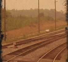 Railroad Tracks Sepia by tonyaleigh