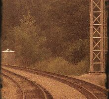 Railroad Tracks Sepia 3 by tonyaleigh