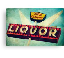 Check Cashing And Liquor Retro Sign Canvas Print