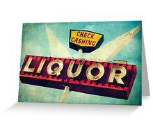 Check Cashing And Liquor Retro Sign Greeting Card