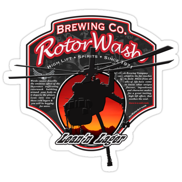 RotorWash Brewing Co. - Lean'n Lager Skycrane by AirWaterArt