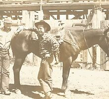 Clay Carr & Burel Mulkey At The Red Bluff Rodeo 1941 by Robert Stanford