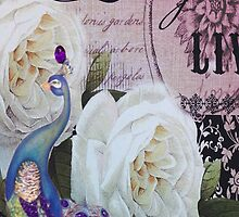 vintage purple paris fashion peacock scripts design by lfang77