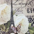 vintage scripts white rose paris eiffel tower by lfang77