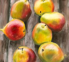 Pears on Deck Pastel by AngelaBishop