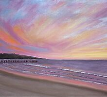 Sunset Pier Pastel by AngelaBishop