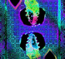 Double Neon King of Hearts by RonMock
