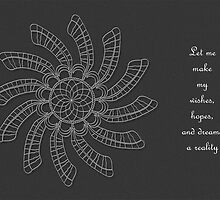 Dreamcatcher Mandala - Card - White on Grey w/Msg by TheMandalaLady