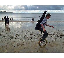 Uni cyclist  On The Beach Photographic Print